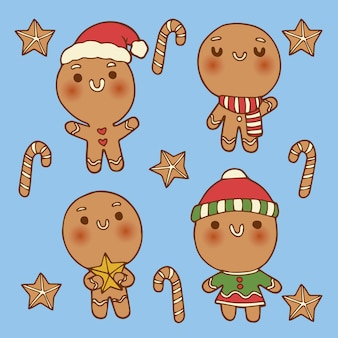 Hand drawn gingerbream man cookie collection