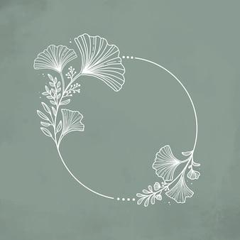 結婚式の招待状のための手描きの銀杏のbilobaシンプルな花輪の背景