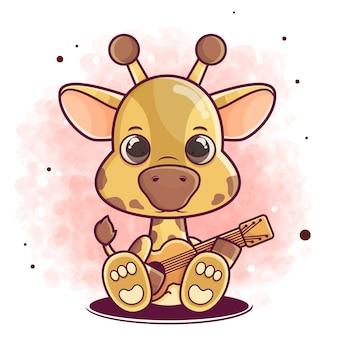 Ручной обращается жираф мультфильм играет на гитаре иллюстрации