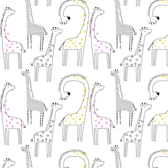 Hand drawn giraffe pattern