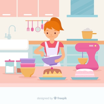Hand drawn girl cooking background