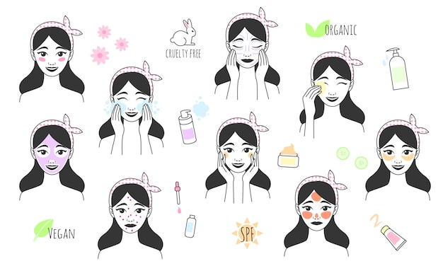 Hand drawn girl takes care of her face. skin care procedures. line style icon of daily beauty treatments. skin care, acne treatment, washes makeup, facial massage.