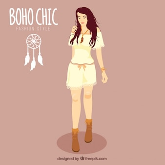 Boho 세련 된 옷을 입고 손으로 그린 소녀