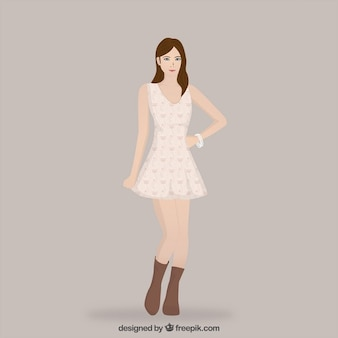 Hand drawn girl with a cute dress