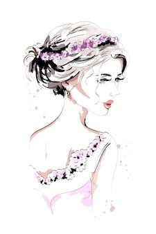 花の花輪と美しい髪型の手描きの女の子。