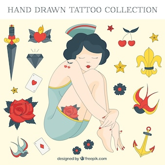 Hand drawn girl with sailor tattoos set