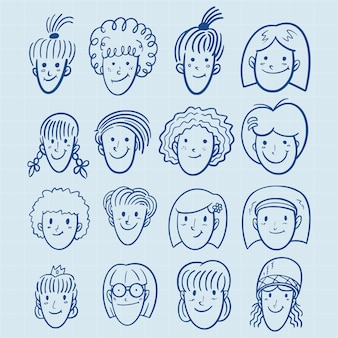 Hand drawn girls avatar set in doodle style