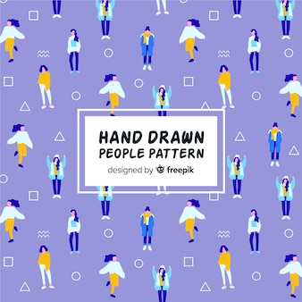 Hand drawn girls pattern