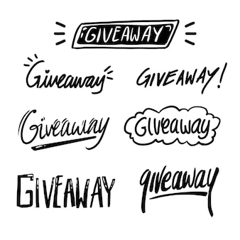 Hand drawn giveaway typography text