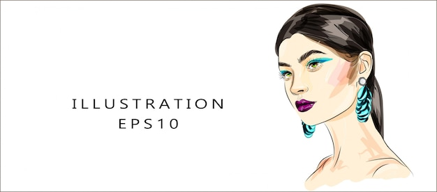 Hand drawn glamour young woman face makeup with beautiful eyes illustration