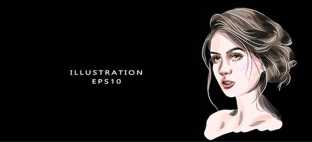 手描きの美しい目イラストグラマー若い女性の顔メイク