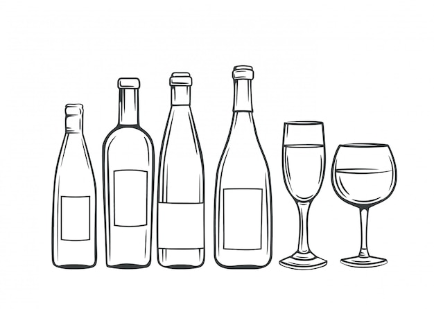 Hand drawn glass bottles and glasses of wine