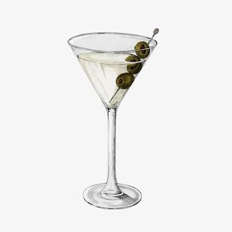 Bicchiere di cocktail disegnato a mano
