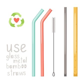 Hand drawn glass, metal and bamboo straw set isolated