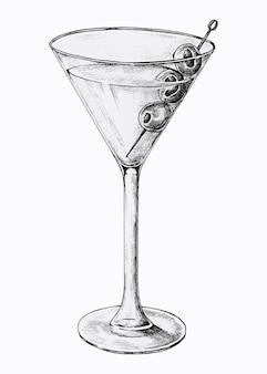 手描きのマティーニ カクテル グラス