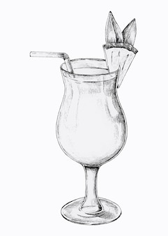 Hand drawn glass of pineapple cocktail drink