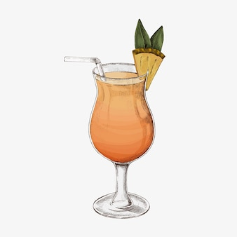 Bicchiere di cocktail all'ananas disegnato a mano