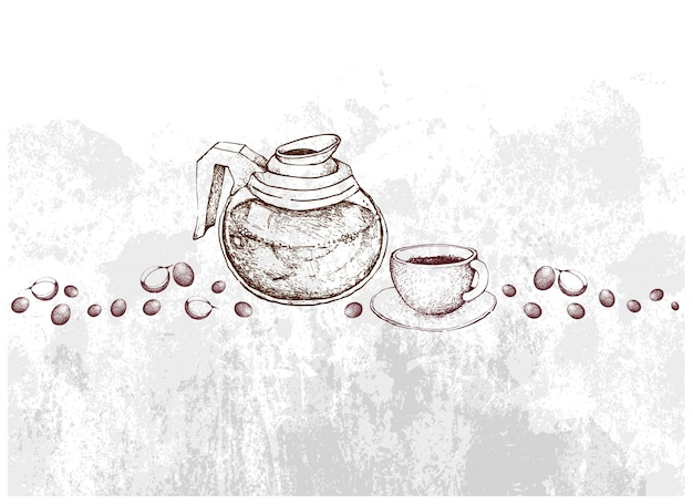 Hand drawn of glass pot with coffee beans