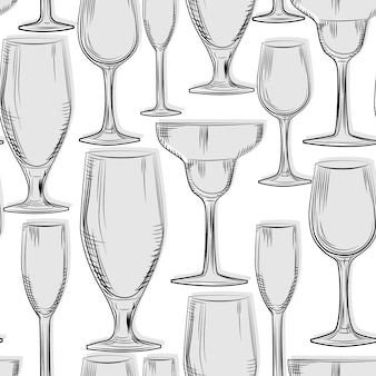 Hand drawn glassware seamless pattern
