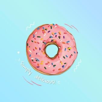 Hand drawn glazed doughnut