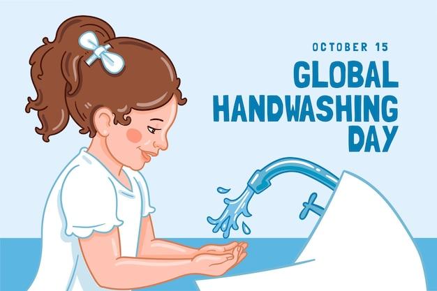 Hand drawn global handwashing day background