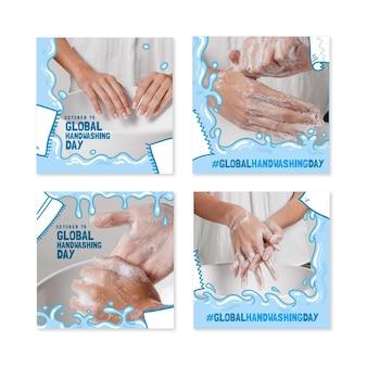 Collezione di post di instagram per la giornata mondiale del lavaggio delle mani disegnata a mano