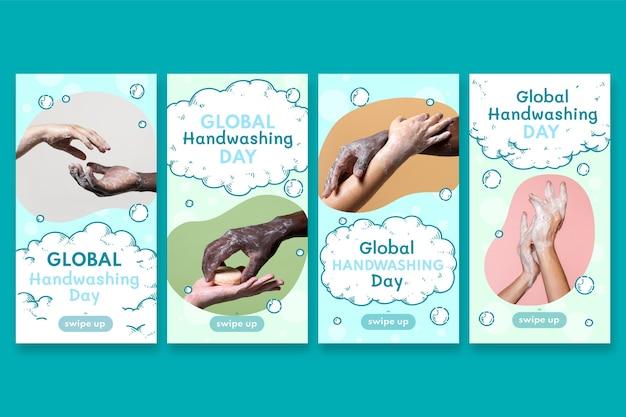 Collezione di storie di instagram per la giornata mondiale del lavaggio delle mani disegnata a mano