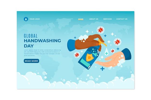 Hand drawn global handwashing day landing page template