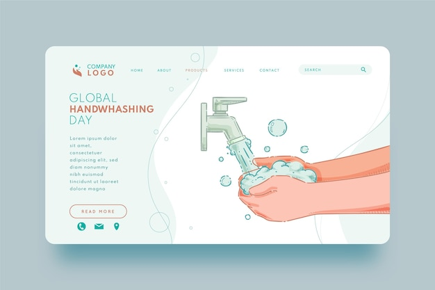 Нарисованный рукой глобальный шаблон целевой страницы дня мытья рук