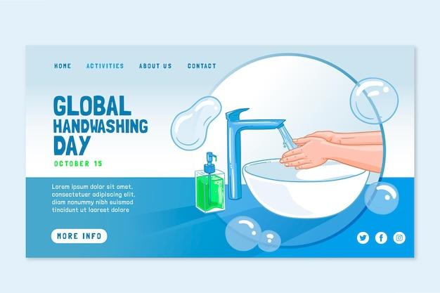 Modello di pagina di destinazione del giorno del lavaggio delle mani globale disegnato a mano
