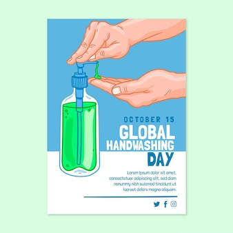 Hand drawn global handwashing day vertical flyer template