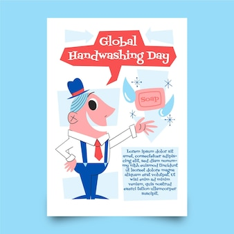 Hand drawn global handwashing day vertical poster template