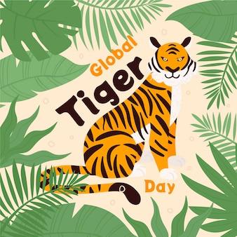 Illustrazione di giorno della tigre globale disegnata a mano