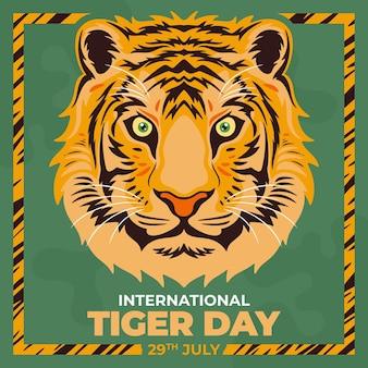 Нарисованная рукой иллюстрация глобального дня тигра