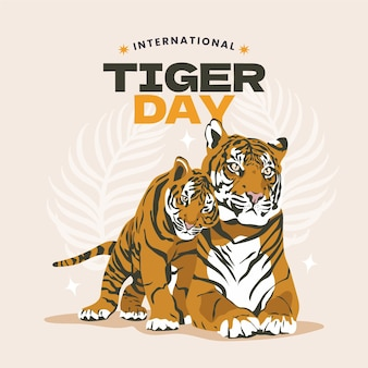 Hand drawn global tiger day illustration