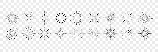 손으로 그린 광선, 광선 낙서 세트 컬렉션. 기념일 로고. 펜 또는 연필 손으로 그린 광선, 광선, 불꽃 놀이. 다른 섬광 및 절연 앞머리의 스케치.