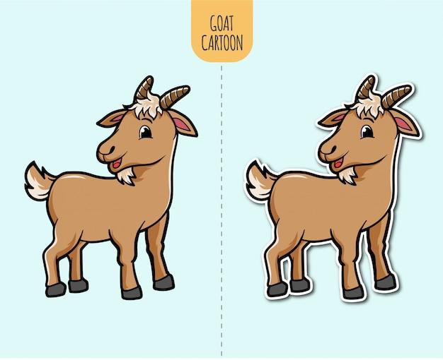 스티커 디자인 옵션으로 손으로 그린 염소 만화 그림