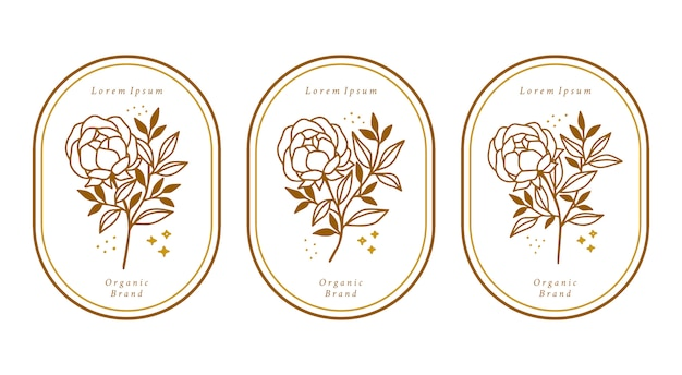 Hand drawn gold botanical peony flower element collection for feminine beauty logo
