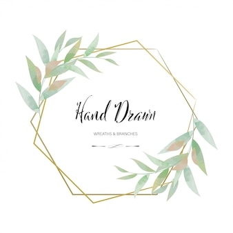 Hand drawn gold branches geometric leaf frame wreath. vintage decoration luxury style.