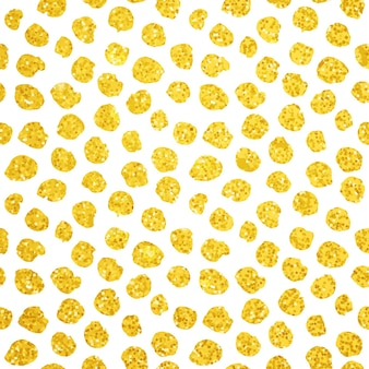 Hand drawn gold dots seamless pattern. vector illustration of brush painted background.