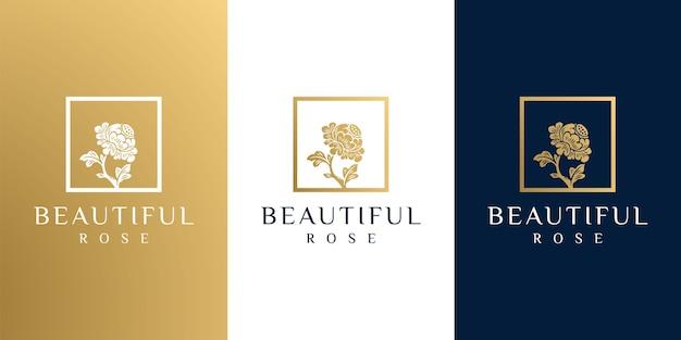 손으로 그린 금 여성의 아름다움과 꽃 식물 로고