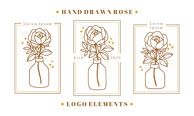Hand drawn gold feminine beauty logo elements with rose flower, leaf branch, and bottle