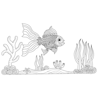 Hand drawn of gold fish in zentangle style