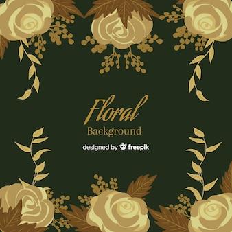 Hand drawn golden floral background