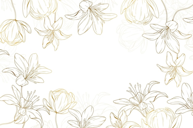 Hand drawn golden floral background