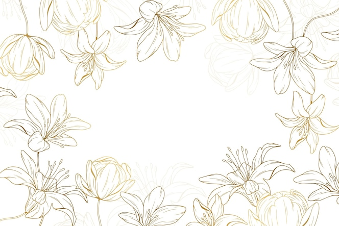 手描きの黄金の花の背景