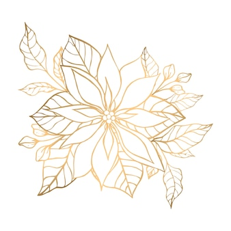 Hand drawn golden floral illustration with bouquet of poinsettia