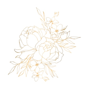Hand drawn golden floral illustration with peonies