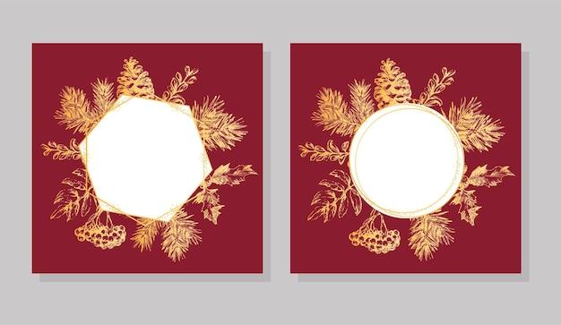 Ручной обращается золотая рамка рождество и новый год пригласительный билет. рисованной векторные иллюстрации ретро венок на светлом фоне. зимний праздничный сборник