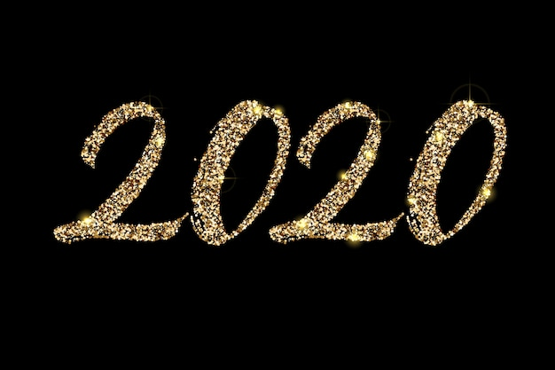 Hand drawn, golden glitter lettering 2020